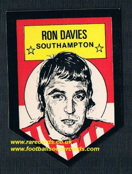1972 BAB unused Shooting Stars Ron Davies Southampton with backing paper